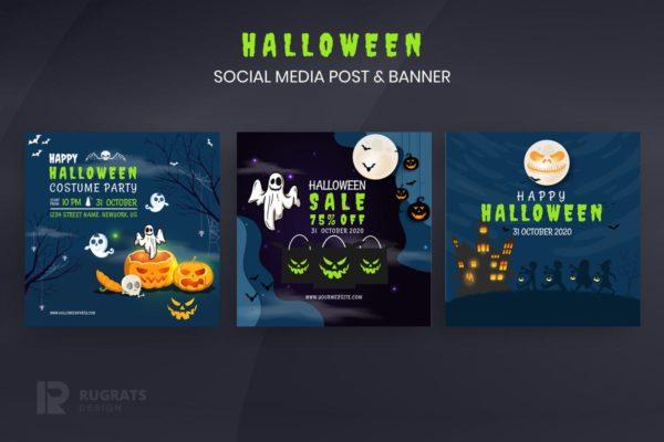万圣节主题社交媒体Instagram帖子&Banner设计模板 Halloween r1 Instagram