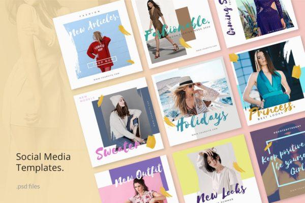 时尚服装服饰商店促销社交媒体设计素材包v2 Social Media Kit Fashion 2