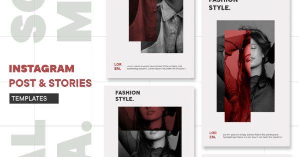 时尚风格服装服饰品牌推广Instagram故事&帖子模板 Instagram Templates
