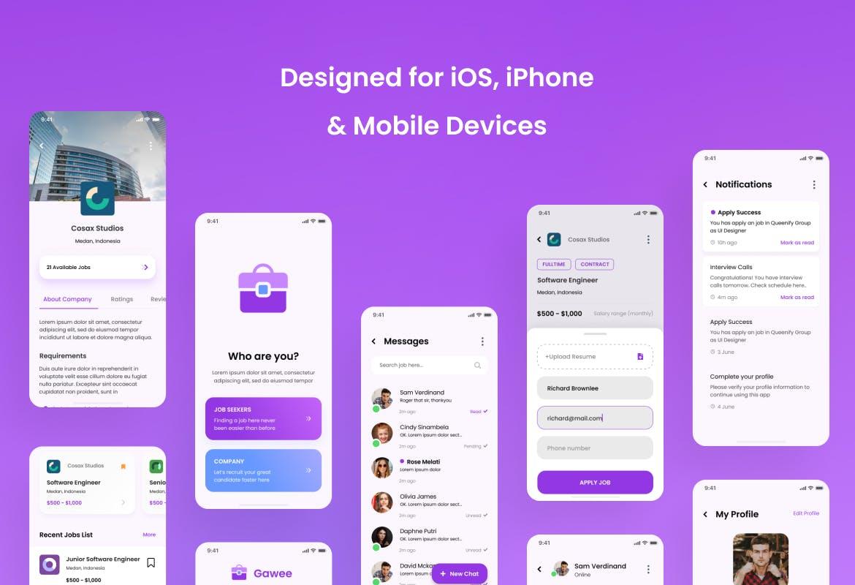 现代时尚求职应聘招聘家政iOS APP应用程序设计UI套件素材 Gawee – Job Portal iOS App Design UI Templa设计素材模板