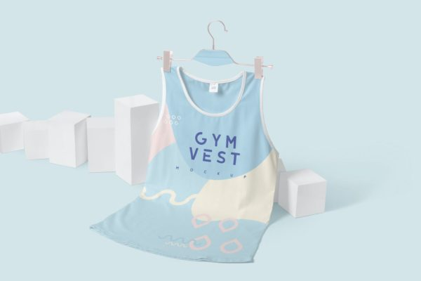 运动背心印花图案设计样机 Sleeveless Gym Vest Mockups