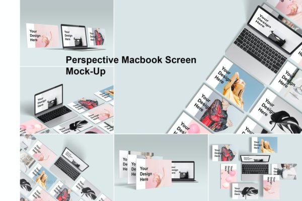 网站UI界面设计展示模板 Perspective Macbook Screen Mock-Up