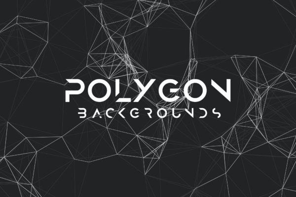科技风格多边形网格背景图素材 Polygon Mesh Background Set