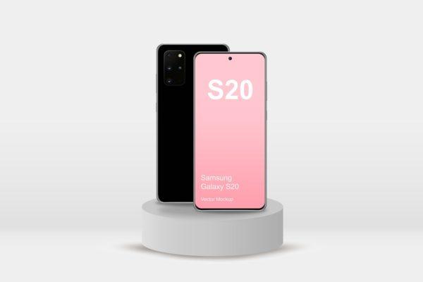 Galaxy S20手机屏幕展示样机模板 Samsung Galaxy S20 Mockup