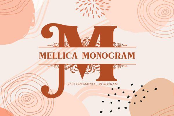 字母拆分效果英文衬线字体 Mellica Split Monogram Font