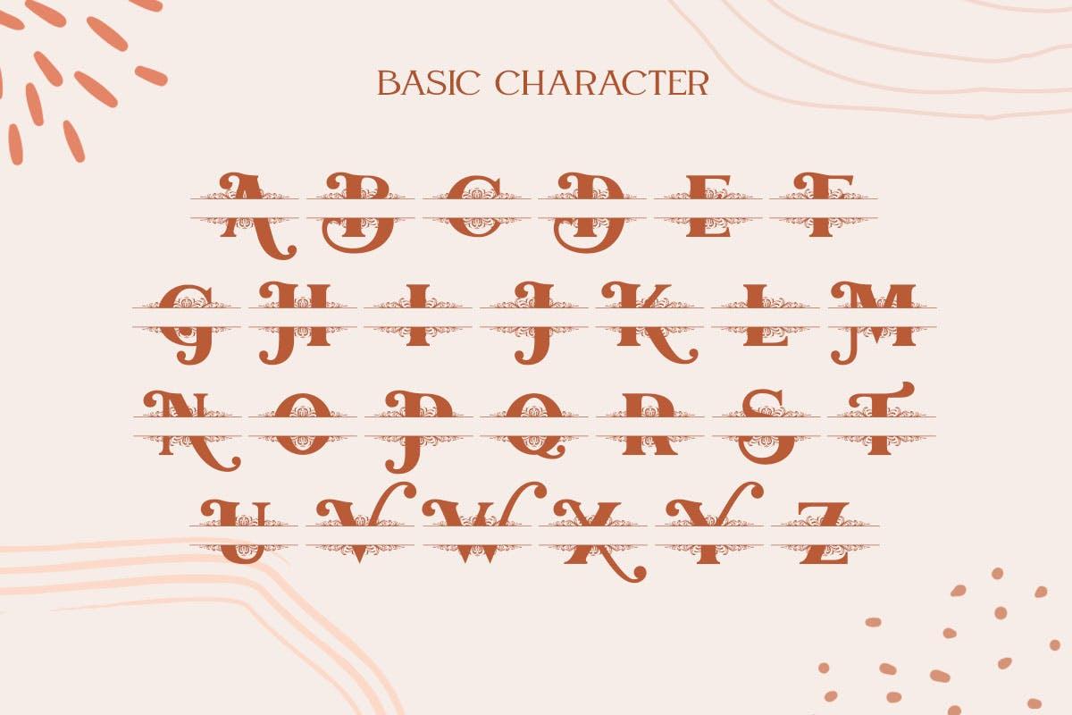 字母拆分效果英文衬线字体 Mellica Split Monogram Font设计素材模板