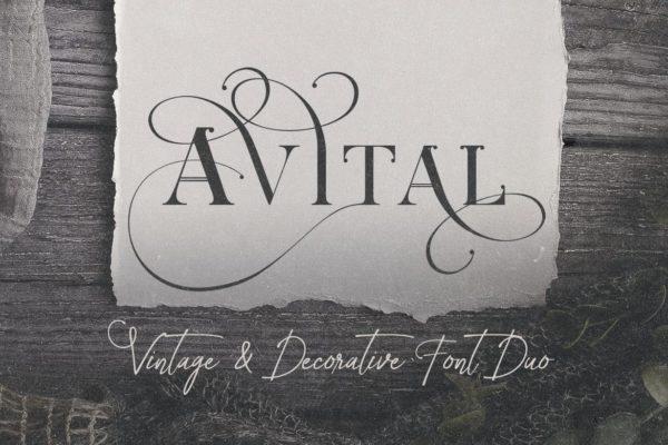 装饰字母英文衬线字体 Avital Decorative Font Duo