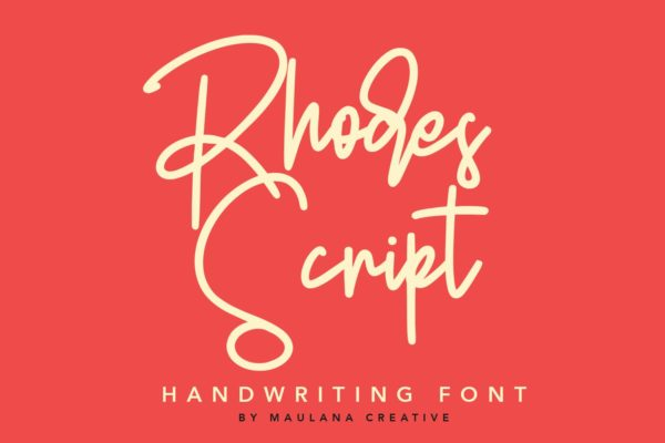 英文手写签名字体素材 Rhodes Modern Script Signature Font