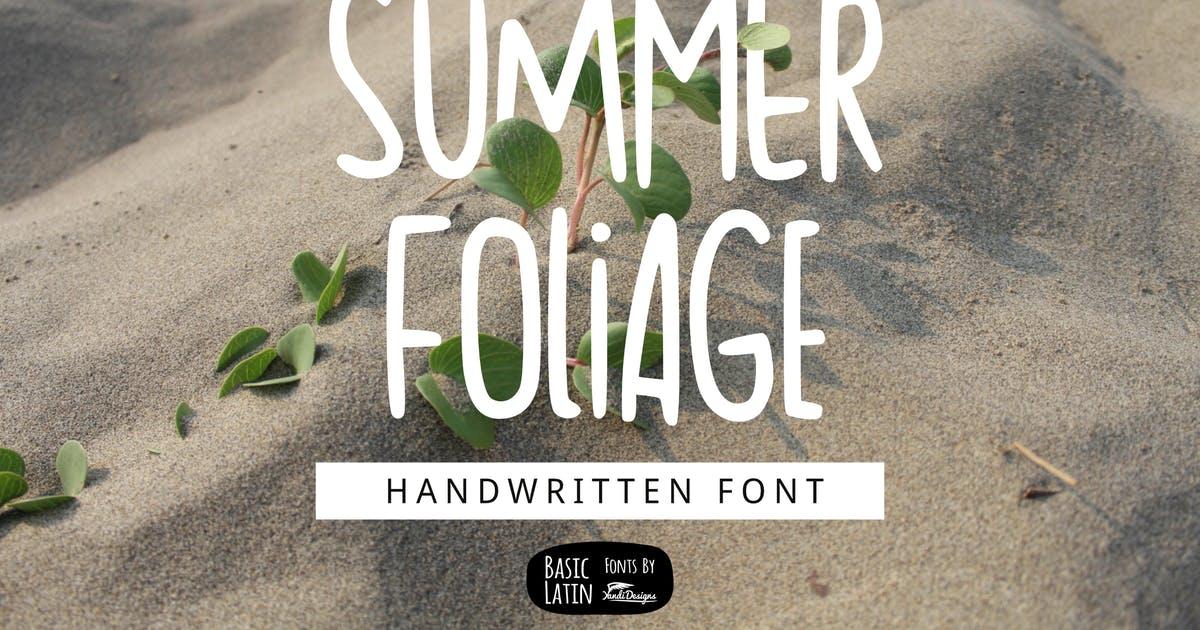 夏日气息英文无衬线字体素材 Summer Foliage Font设计素材模板