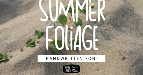夏日气息英文无衬线字体素材 Summer Foliage Font