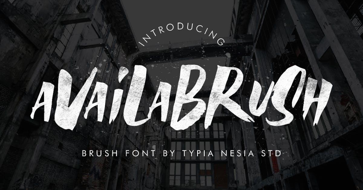 油漆粉刷风格英文无衬线字体素材 AvailaBrush Font设计素材模板