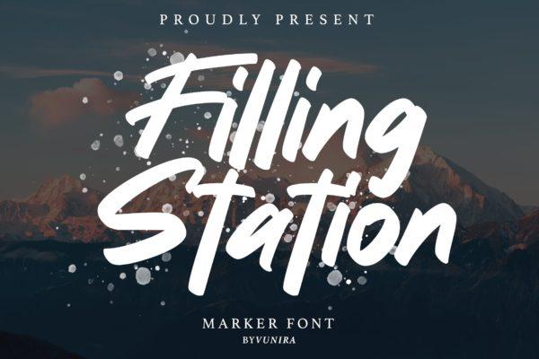 标志设计英文手写字体素材 Filling station | Marker Font