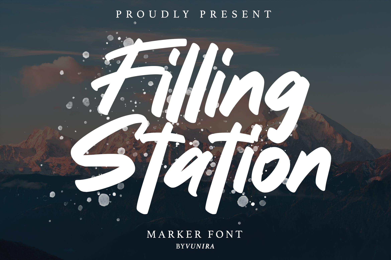 标志设计英文手写字体素材 Filling station | Marker Font设计素材模板