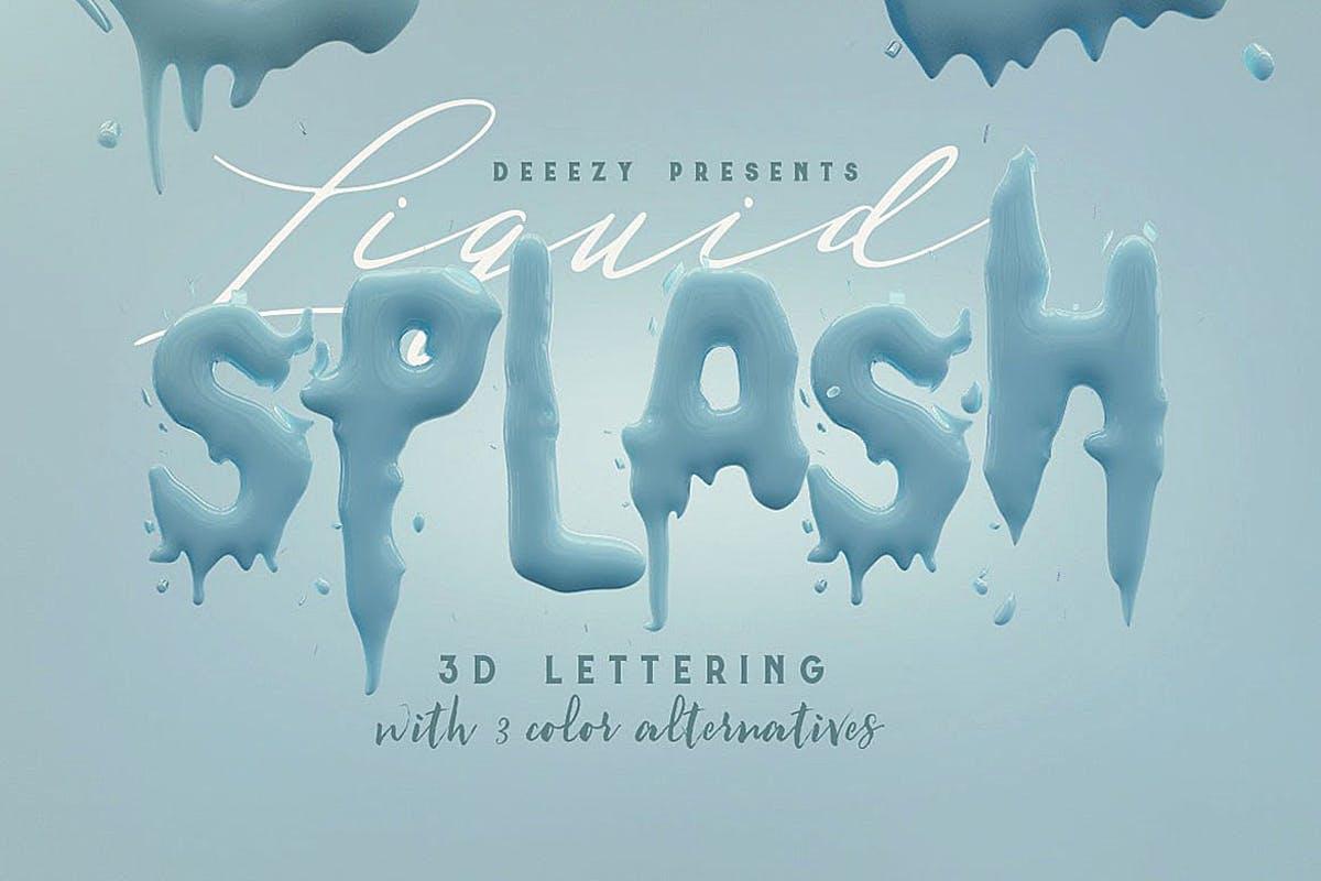 油漆飞溅效果3D立体英文字体PNG素材 Liquid Splash – 3D Lettering设计素材模板