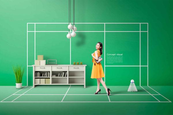 羽毛球运动主题概念海报设计模板