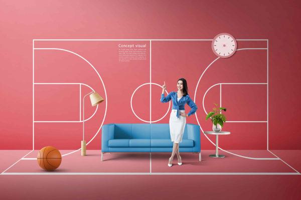篮球运动主题概念海报设计模板