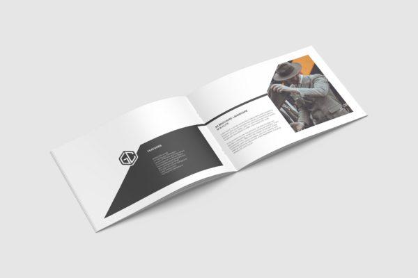 杂志内页/画册/手册版式设计图样机模板 Opened A4 Landscape Brochure/ Magazine Mockup