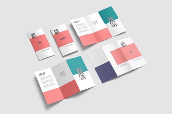A4小册子三折页设计样机集 A4 Trifold Brochure Mockup Set