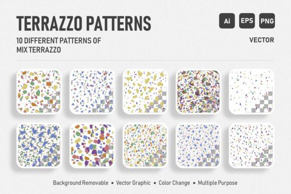 水磨石混合颜色无缝图案背景素材 Seamless Italian Terrazzo – Color Mix Pack