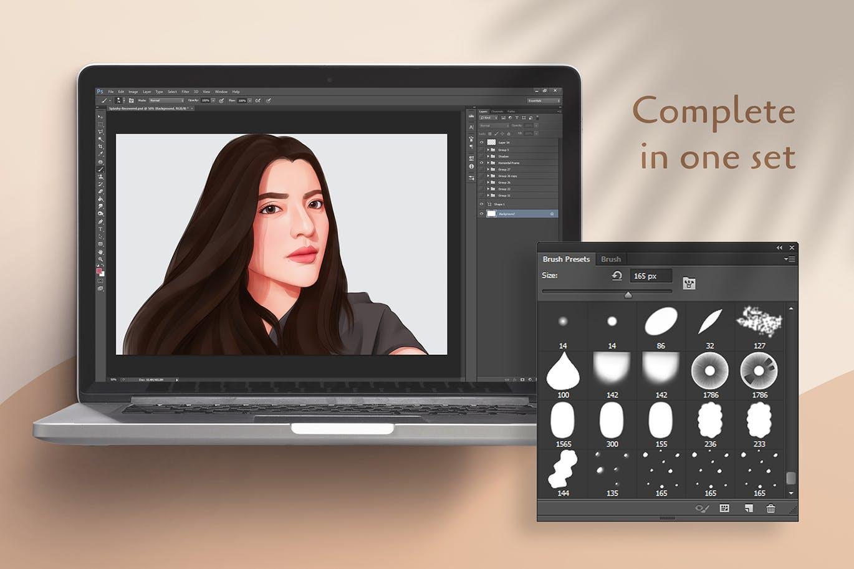 人物3D肖像画Adobe Photoshop画笔 Paintin Brushes for Adobe Photoshop设计素材模板