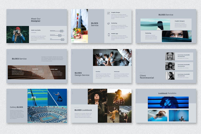创意时尚个人演示/商务简历PPT文稿模板 BLOES PowerPoint Presentation设计素材模板