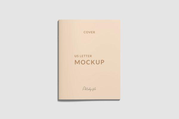 信纸尺寸杂志封面/宣传册设计样机模板 US Letter Cover Brochure/Magazine Mockup