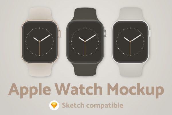 苹果手表正面效果图样机 Apple Watch Sketch Mockup