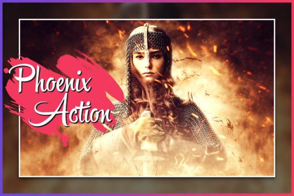电影特效火焰照片处理Photoshop动作 Phoenix CS4+ Photoshop Action