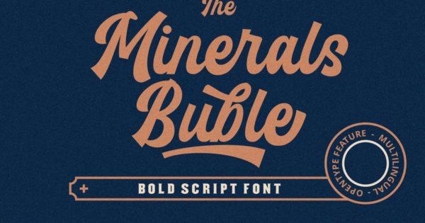 英文粗体放大效果字体 Minerals Buble Bold Script Font