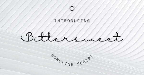 连笔时尚线状英文手写字体素材 Bitter Sweet Font
