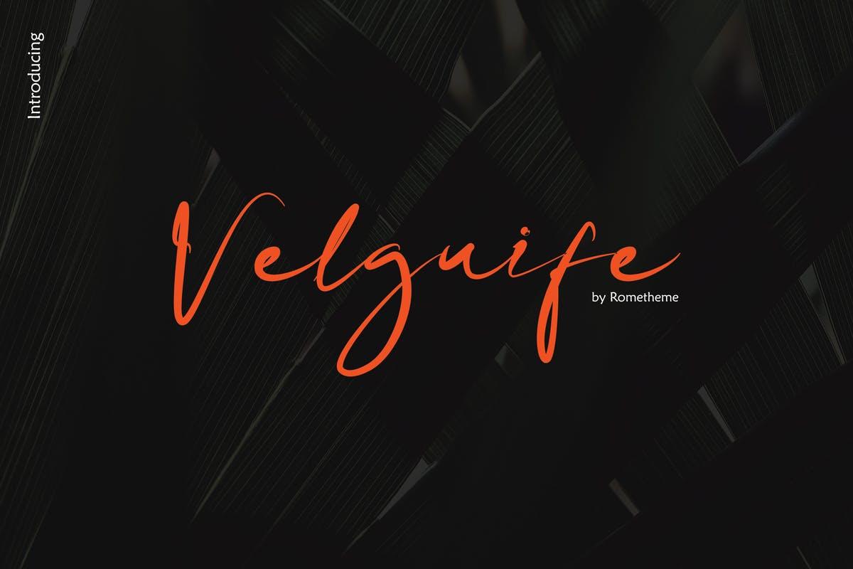 优雅简单的英文手写广告字体素材 Velguife Script Font设计素材模板