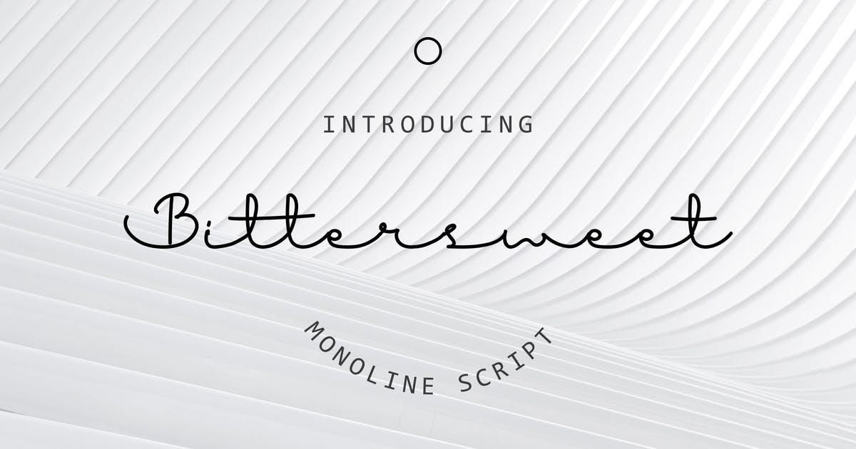 连笔时尚线状英文手写字体素材 Bitter Sweet Font设计素材模板