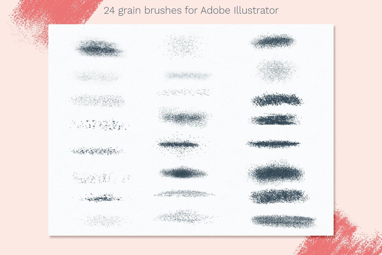 散点蜡笔纹理AI绘画笔刷 Vector grain brushes – Illustrator设计素材模板