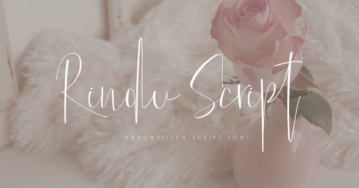 手写细线条英文字体 Rindu Script Font设计素材模板