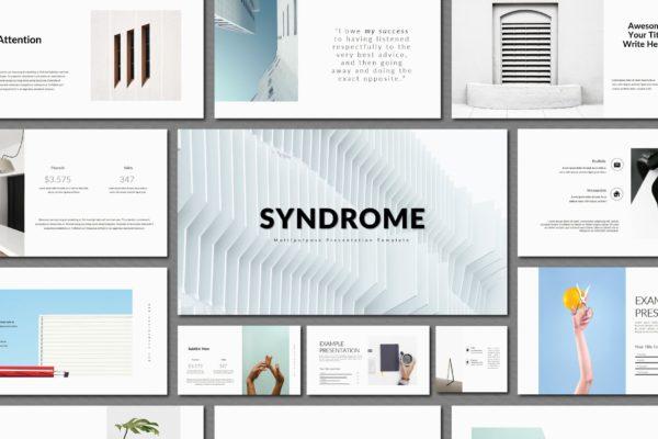 白色背景极简多用途PPT设计演示文稿模板 Syndrome | Powerpoint Templates
