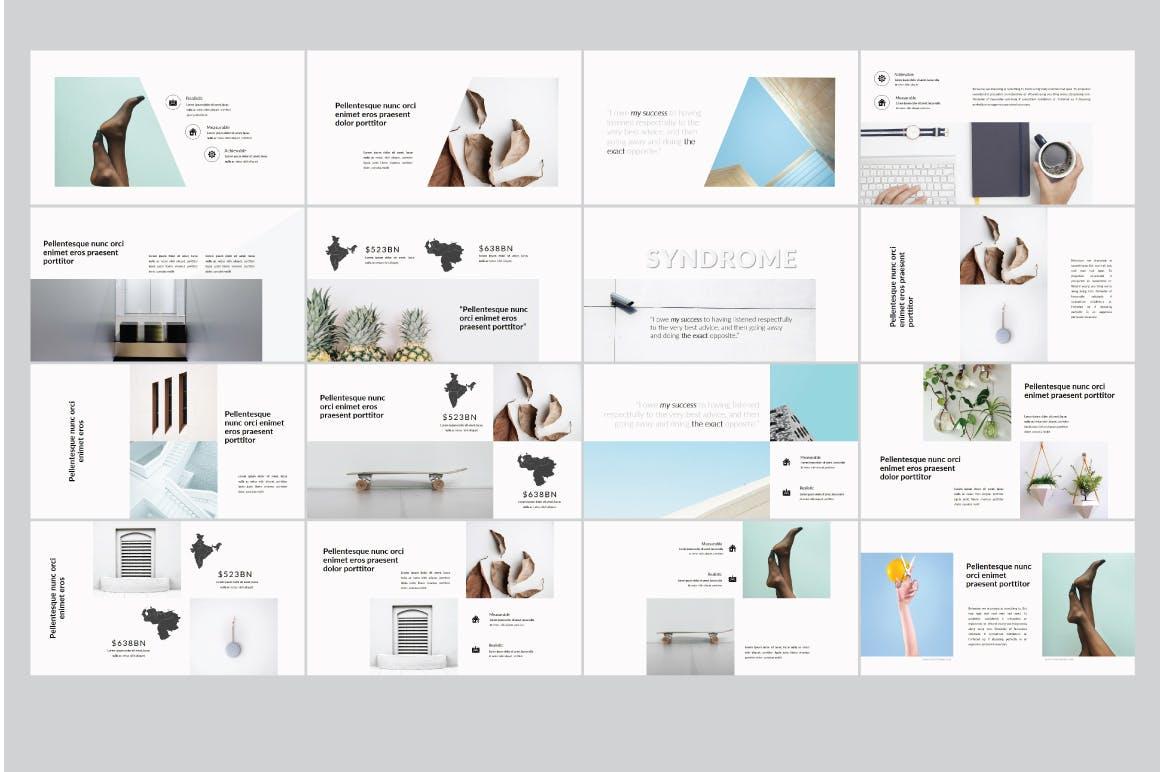 白色背景极简多用途PPT设计演示文稿模板 Syndrome | Powerpoint Templates设计素材模板