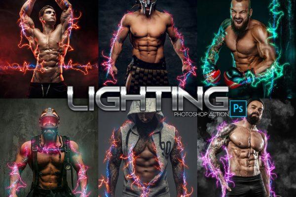 照片效果闪电能量后期处理PS动作 Lightning Power Photoshop Action