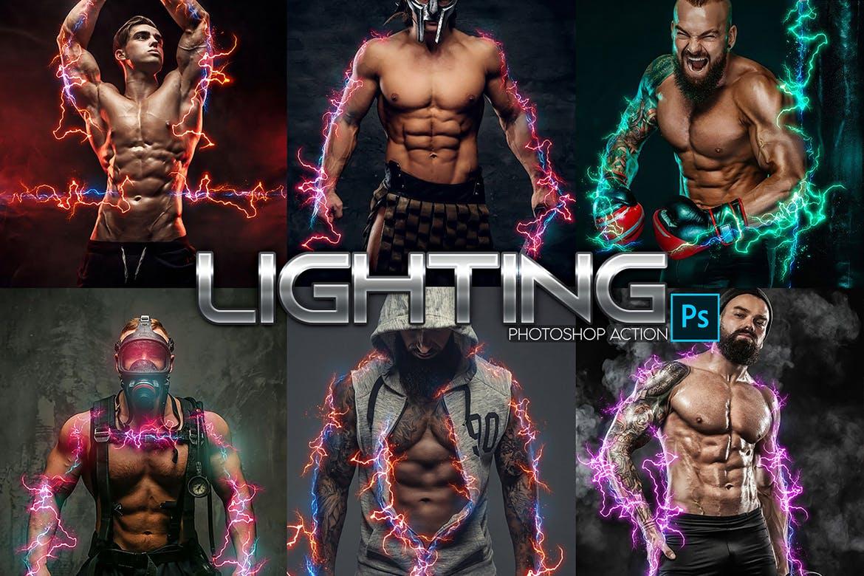 照片效果闪电能量后期处理PS动作 Lightning Power Photoshop Action设计素材模板