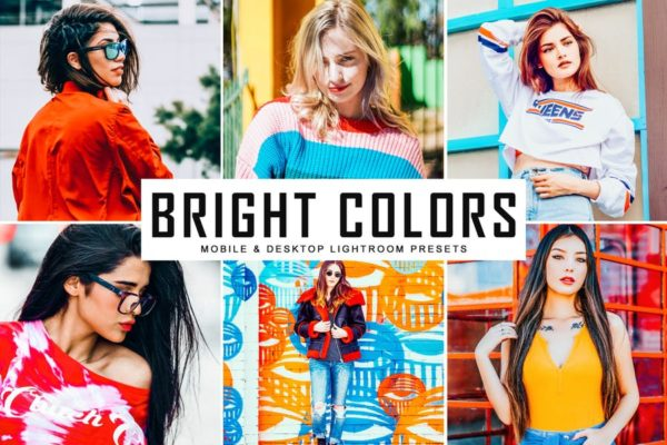 流行色调多彩照片后期处理LR预设 Bright Colors Mobile & Desktop Lightroom Presets