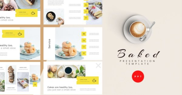 烘焙甜品课程演讲Powerpoint模板 Baked – Bakery Powerpoint Presentation Template