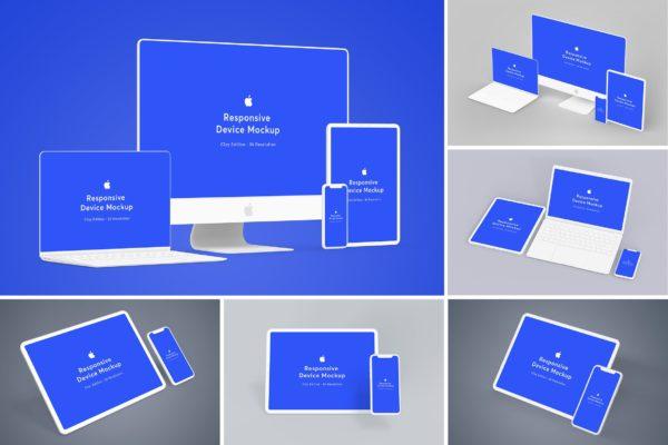 交互设计极简主义风格效果图预览样机v3 Responsive Device Mockup 3.0