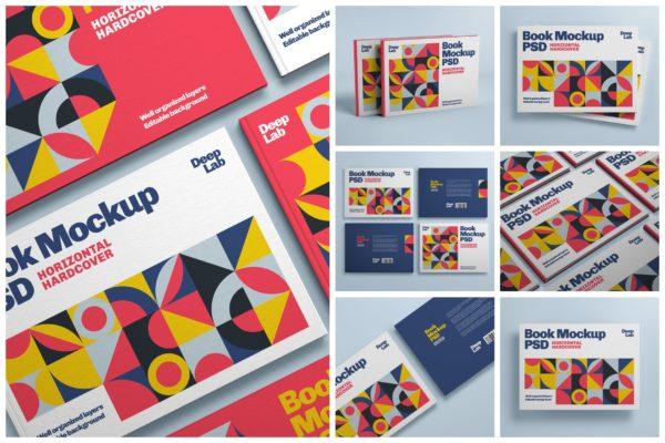 封面横版规格设计样机集 Horizontal Book Cover Mockup Set