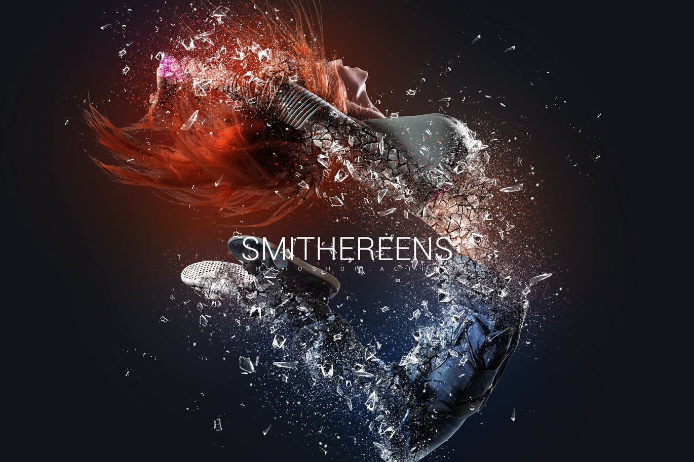 碎片化塑料照片特效Photoshop动作 Smithereens Photoshop Action设计素材模板