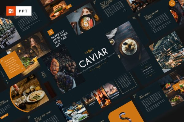 美食促销&餐饮主题Powerpoint模板 CAVIAR – Catering & Food Powerpoint Template