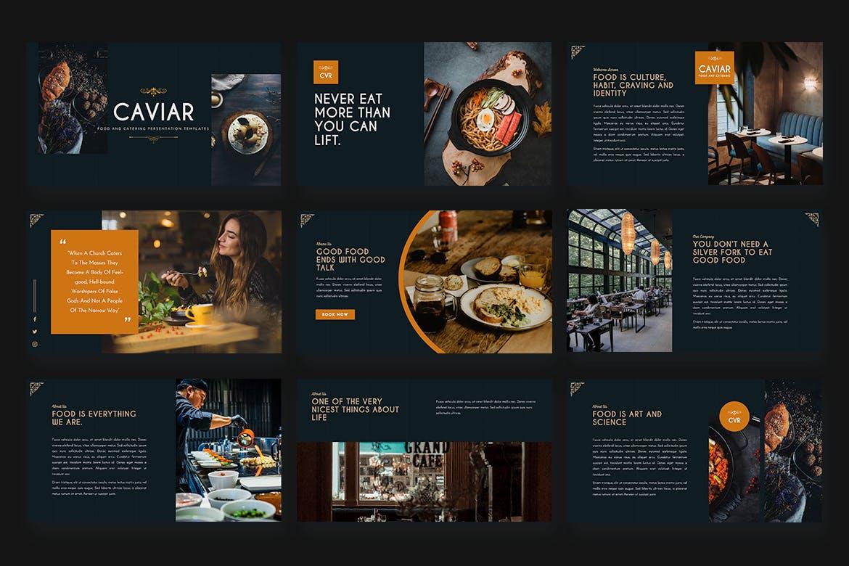 美食促销&餐饮主题Powerpoint模板 CAVIAR – Catering & Food Powerpoint Template设计素材模板