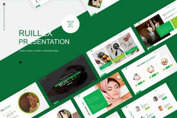 养生护理美容Spa服务推广演示PPT模板套装 Ruillex Presentation Template