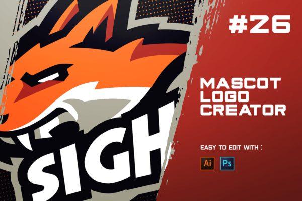 电子竞技狼动物Logo设计模板 SIGH! – E-Sports Logo Creator