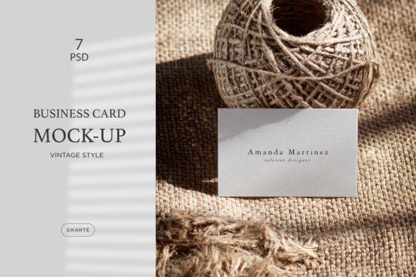 复古优雅风格背景企业名片设计展示样机 Business Card Mock-Up