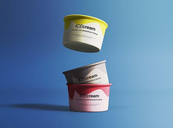叠放悬浮冰淇淋杯外观设计视图样机 Ice Cream Cups Mockup