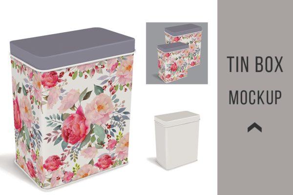 金属锡盒外观设计图案样机模板 Tin Box Mockup